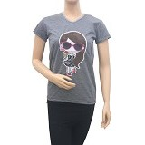 BEIBZ Ice Cream Girl Woman Shirt - Grey (v) - Kaos Wanita