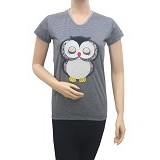 BEIBZ Sleeping Owl Woman Shirt - Grey (V) - Kaos Wanita