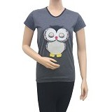 BEIBZ Sleeping Owl Woman Shirt - Black (V) - Kaos Wanita