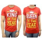 DOO FU Couple T-Shirt King Queen - Red (V) - Kaos Wanita