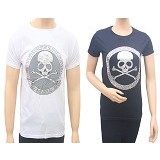 MIT Couple T-Shirt Skull - Black & White (V) - Kaos Wanita