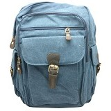 ZAPATOS Canvas Backpack [#6021] - Leather/Sapphire (V) - Notebook Backpack