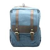 ZAPATOS Canvas Backpack [#6028] - Leather/Sapphire (V) - Notebook Backpack