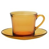DURALEX Amber 12pcs Set Cup and Saucer 18cl