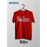 TOMOINC The Beatles Official Logo Kaos Band Original Gildan Size L [BTL027] - Red - Kaos Pria
