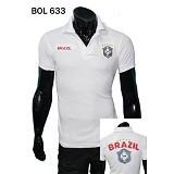 GUDANG FASHION Kaos Kerah Bola Brazil Lengan Pendek Keren dan Modis [BOL 633] - Putih - Polo Pria