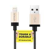 LETOUCH Matrix Lightning Cable MFI Tough & Durable Sync/Charge 1.2M - Gold - Cable / Connector Usb