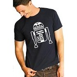 JERSICLOTHING T-Shirt Star Wars R2D2 Velvet/Flock Print Size S - Dark Blue