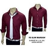 VANMARVELL Kemeja Polos Slimfit Size L - Maroon - Kemeja Lengan Panjang Pria