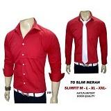 VANMARVELL Kemeja Polos Slimfit Size L - Merah - Kemeja Lengan Panjang Pria