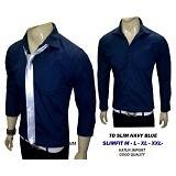 VANMARVELL Kemeja Polos Slimfit Size M - Navy Blue - Kemeja Lengan Panjang Pria