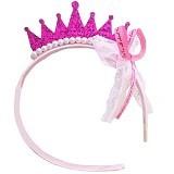 AXHL Pearl Crown Princess Hairband - Magenta - Topi & Aksesoris Bayi dan Anak
