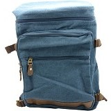 ZAPATOS Canvas Backpack [#6013] - Leather/Sapphire (V) - Notebook Backpack