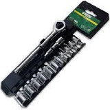 "SATA DR Socket Set Metric 1/2"" 13Pc [09525] - Kunci Sok Set"