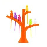 POP HOME Colorful Birdie Fruit Fork [B265] - Orange - Garpu Makan