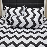 SLEEP BUDDY Queen Size Bed Sheet Katun Chevron - Black