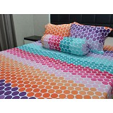 SLEEP BUDDY Queen Size Bed Sheet Katun - Rainbow Polka - Kasur