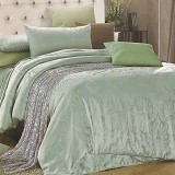 SLEEP BUDDY Queen Size Bed Sheet Sutra Tencel - Green Leaf - Kasur