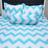 SLEEP BUDDY Single Size Bed Sheet Katun Chevron Aqua - Kasur