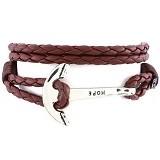 SOHO Gelang Kulit Jangkar Hope - Brown & Silver (Merchant) - Gelang / Bracelet