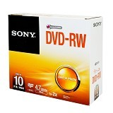 SONY DVD-RW Single Pack 10 Pcs - Dvd-Rw Disc