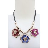SSLAND Floral Crystal Necklace [AG007] - Blue (V) - Kalung / Necklace