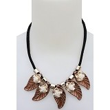 SSLAND Leaf Necklace [FJ040] - Caramel (V) - Kalung / Necklace