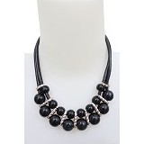 SSLAND Pearl Necklace [AG023] - Black (V) - Kalung / Necklace