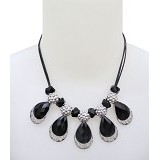 SSLAND Water Drop Cristal Necklace [XXSP067] - Black Silver (V) - Kalung / Necklace