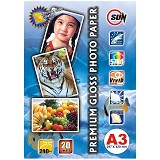 SUN Premium Photo Paper Glossy Double Side 240 Gsm A3 - Kertas Foto / Photo Paper