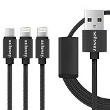 Sailsway Micro USB + 2 Apple iPhone Cable 100CM 3 in 1 [SWL03-4] - Black (Merchant) - Cable / Connector Usb