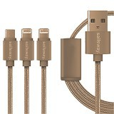 Sailsway Micro USB + 2 Apple iPhone Cable 100CM 3 in 1 [SWL03-4] - Gold (Merchant) - Cable / Connector Usb