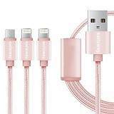 Sailsway Micro USB + 2 Apple iPhone Cable 100CM 3 in 1 [SWL03-4] - Pink (Merchant) - Cable / Connector Usb