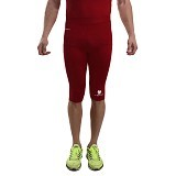 TIENTO Baselayer Manset Rash Guard Compression Half Pants Size L - Maroon White - Celana Olahraga Pria
