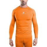TIENTO Baselayer Manset Rash Guard Compression Long Size S - Orange Silver - Kaos Pria