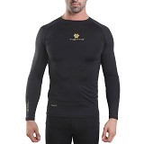 TIENTO Baselayer Manset Rash Guard Compression Long Sleeve Size M - Black Gold - Kaos Pria