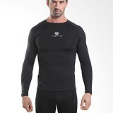 TIENTO Baselayer Manset Rash Guard Compression Long Sleeve Size XL - Black Silver - Kaos Pria