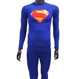 TIENTO Baselayer Manset Rash Guard Compression Long Sleeve Superman Size L - Benhur - Kaos Pria