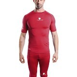 TIENTO Baselayer Manset Rash Guard Compression Short Sleeve Size L - Maroon White - Kaos Pria
