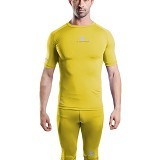 TIENTO Baselayer Manset Rash Guard Compression Short Sleeve Size L - Yellow Silver - Kaos Pria