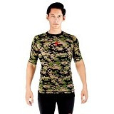 TIENTO Baselayer Manset Rash Guard Compression Short Sleeve Size S - Army Green - Kaos Pria
