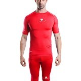 TIENTO Baselayer Manset Rash Guard Compression Short Sleeve Size XL - Red White - Kaos Pria