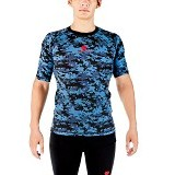 TIENTO Baselayer Manset Rash Guard Compression Short Sleeve Size XXL - Army Blue - Kaos Pria