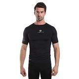 TIENTO Baselayer Manset Rash Guard Compression Short Sleeve Size XXL - Black Silver - Kaos Pria