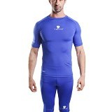 TIENTO Baselayer Manset Rash Guard Compression Short Sleeve Size XXL - Blue White - Kaos Pria