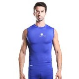 TIENTO Baselayer Manset Rash Guard Compression Sleeve Less Size L  - Blue White - Singlet Pria