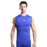 TIENTO Baselayer Manset Rash Guard Compression Sleeve Less Size XL - Blue Silver - Singlet Pria