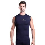 TIENTO Baselayer Manset Rash Guard Compression Sleeve Less Size XXL - Navy Silver - Singlet Pria