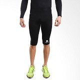TIENTO Baselayer Manset Rashguard Compression Half Pants Size XL - Black White - Celana Olahraga Pria