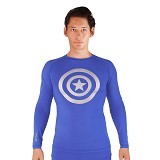 TIENTO Baselayer Manset Rashguard Compression Long Sleeve Blue Captain Amerika Size L - Silver  (Merchant) - Kaos Pria